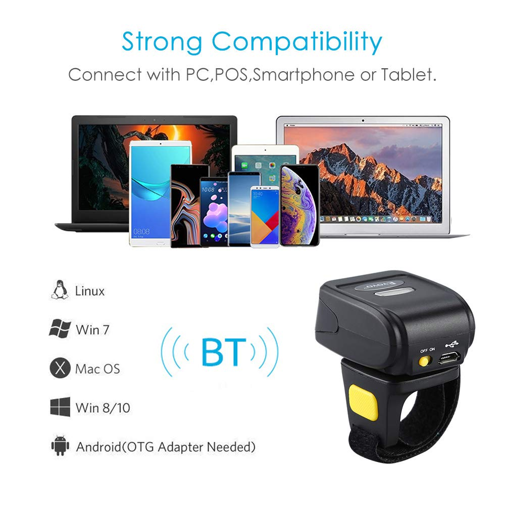 Eyoyo Portable Wearable Ring Barcode Scanner 1D Reader Mini Wireless Finger Barcode Scanner Compatible for iOS//Android 4.0+//Windows//Mac OS