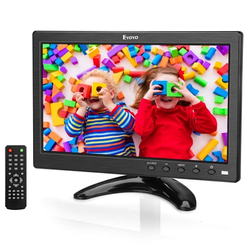 Eyoyo 10 inch Small TV Monitor HDMI Portable Kitchen TV, 1024x600 LCD Screen with TV/HDMI/VGA/AV-BNC/USB Input & Remote Control for Multi Application