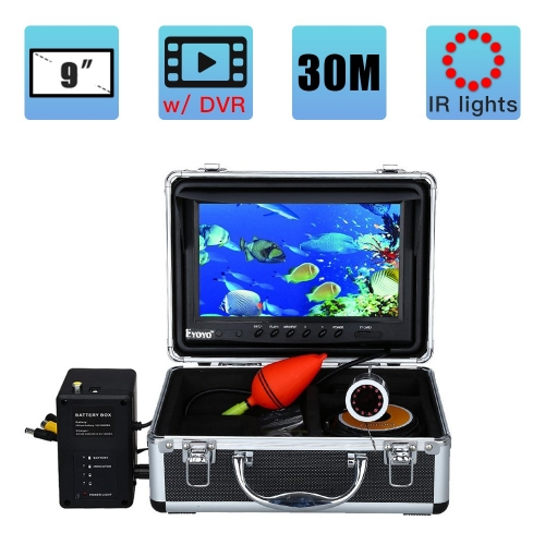 Eyoyo Underwater Fishing Camera 9 inch LCD Monitor HD 1000TVL Waterproof DVR Video Cam (Infrared Lights 30m cable)