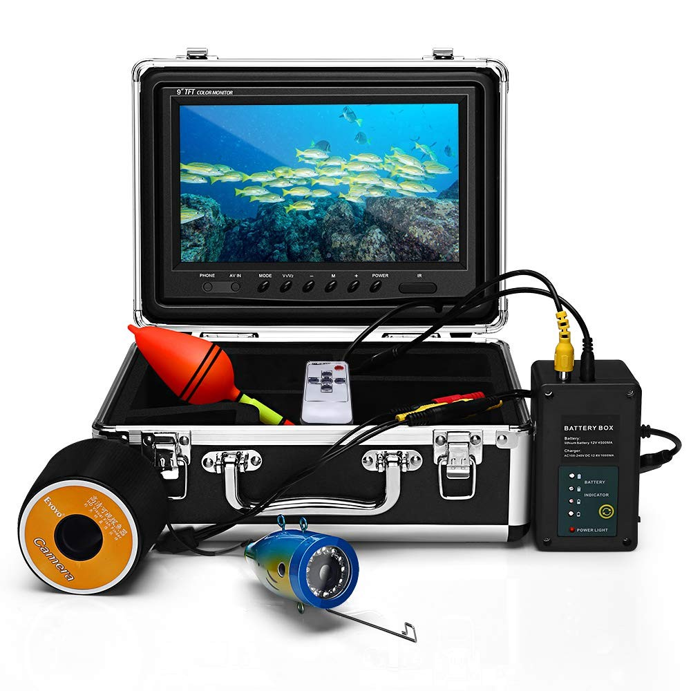 Eyoyo 9 Inch Underwater Fishing Camera Video Fish Finder 1000 TVL LCD Monitor Waterproof Camera Adjustable Infrared & White Light for Ice Lake Sea Boat Kayak Fishing 30m(98ft) Cable