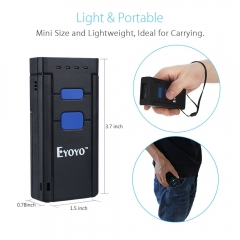 Eyoyo Mini 1D Wireless Barcode Scanner,Compatible with Bluetooth Function & 2.4GHz Wireless & Wired Connection, Portable Barcode Reader Work With Windows, Mac,Android, iOS Phones, Tablets or Computers