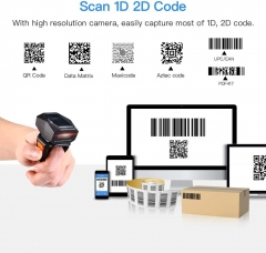 Eyoyo EY-016 2D Finger Ring Barcode Scanner, Mini Wearable 3-in-1 USB Wired & 2.4G Wireless & Bluetooth Scanner, Image 1D QR Bar Code Reader PDF417 Data Matrix Screen Scan for iPad, Smartphone, PC