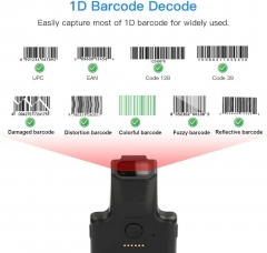 Eyoyo EY-017L 1D Bluetooth Barcode Scanner, Portable Back Clip Wireless Barcode Reader, 1050mAh Rechargeable Battery, Work with Windows, Mac, Android, iOS for Warehouse Inventory Library Book Store