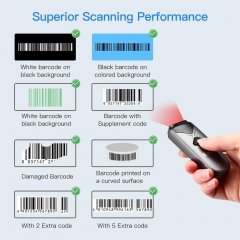 Eyoyo EY-015L Mini Portable 1D Bluetooth Barcode Scanner, 3-in-1 2.4G Wireless & Bluetooth & USB Wired Barcode Reader ISBN Code 128 Bar Code Scanning Work with Windows, Android, iOS, Tablets or Computers